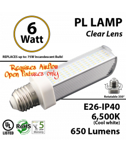 6W PL LED Bulb lamp 6500K E26 UL. Direct Line (Remove Ballast)