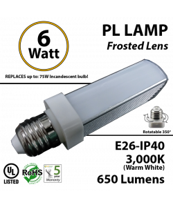 6W PL LED Bulb lamp 3000K E26 UL.Frosted.  Direct Line (Remove Ballast)