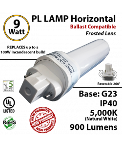 9W PL LED lamp 900 Lumens 5000K Frosted Ballast compatible G23 IP40 UL.