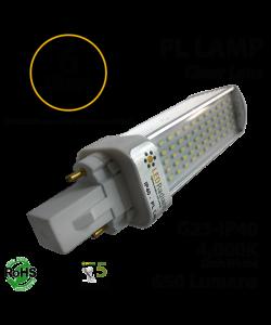 6W PL LED Bulb lamp 650Lm 4000K G23 IP40 UL. Direct Line (Remove Ballast)