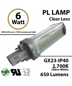 6W PL LED Bulb lamp 650Lm 2700K GX23 IP40 UL. Direct Line (Remove Ballast)