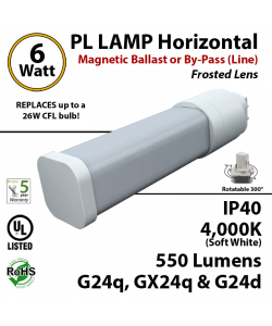 6W PL LED Lamp 550Lm 4000K Frosted G24q-d Magnetic ballast or By-pass (line)