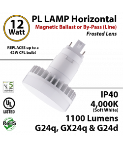 12W PL LED Lamp 1100Lm 4000K Frosted G24q IP40 UL Ballast or Direct