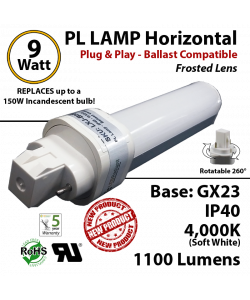 9W PL LED lamp 1100Lm 4000K Frosted Ballast compatible GX23 IP40 UL.