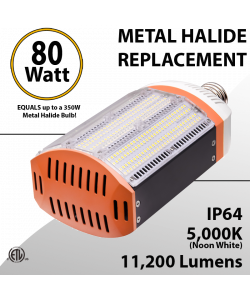 Metal Halide Replacement equals 300W LED 80W 11200Lm 5000K IP64 ETL