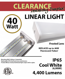 Wraparound Linear LED Light Fixture 40W 6000K 4400 Lumens