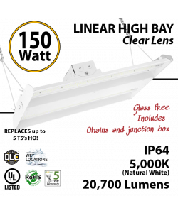 4ft LED Linear High Bay Fixture 150W 20700 Lumens 5000K UL DLC