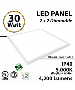 30W LED Panel 2 x 2 4200Lm 5000K IP64 UL DLC