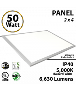 50W  LED Panel 2x4 5000K 6630 Lm DLC Premium Dimmable