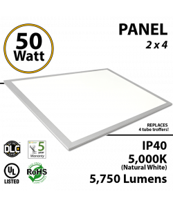 50W LED Panel 2 x 4 5750 Lumens 5000K IP40 UL.