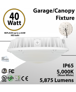 Parking garage Lighting LED Canopy 40W 5000K 5875 Lumens UL DLC