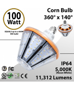 LED Corn Bulb 100W 11312Lm 5000K E26/E39 IP64 UL DLC