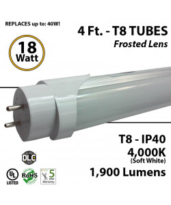 18W 4Ft LED T8 Tube 1900Lm  4000K Frosted Plug And Play Ballast Compatible IP40 DLC UL