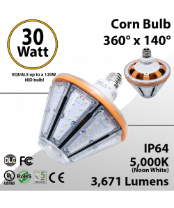 LED Corn Bulb 30W 3671Lm 5000K E26 IP64 UL DLC