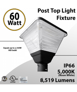 Top Post Light 60W LED 8519 Lumen 5000K Square