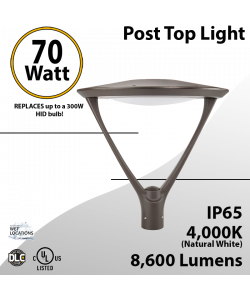 Post Top Light 70W LED 8600 Lm 4000K Dark Bronze