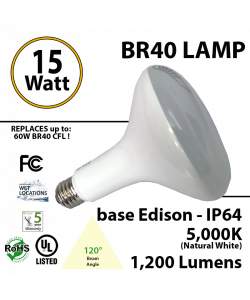 15Watts BR40 Lamp 5,000K 1200Lm Frosted Lens UL. 120° Beam Angle. BASE: Edison