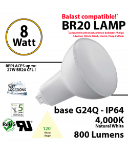8Watts BR20 Lamp 4,000K (Soft White), 800Lm, Frosted Lens, UL. 120° Beam Angle. BASE: G24Q