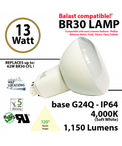 13Watts BR30 Lamp 4,000K (Soft White), 1150Lm, Frosted Lens, UL. 120° Beam Angle. BASE: G24Q