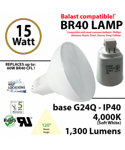 15Watts BR40 Lamp 4,000K (Soft White), 1300Lm, Frosted Lens, UL. 120° Beam Angle. BASE: G24Q