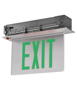 Exit Sign Recessed Edge-lit Battery Backup 1 Face Mirror Green