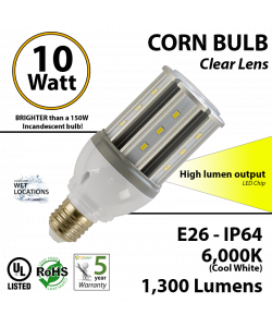 150 Watt Incandescent Equivalent 10w LED Corn Light Bulb 1,300Lm