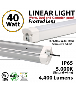 40 W vapor tight  fixture, 4400 Lumen, 5000K, Frosted Lens, IP65, UL