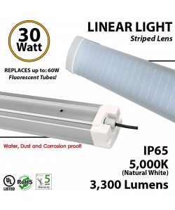 30w LED Vapor Tight Light Fixture: 3300 Lumens, 5000K, Striped Lens, IP65, UL