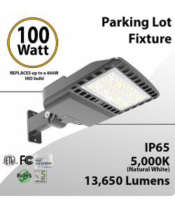 100W LED Shoebox Street Light fixture 100-277 VAC 13650Lm 5000K ETL DLC