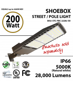 200W LED Shoebox Street Light fixture 28000Lm 5000K UL IP67 DLC