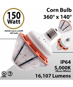 LED Corn Bulb 150W 16107Lm 5000K E39 IP64 UL DLC