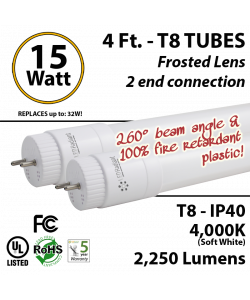 15W LED Tube 4Ft T8 2250Lm 4000K Frosted By-pass ballast