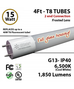 15W LED T8 Glass Tube Light 6500K Frosted Lens 1850 Lumens