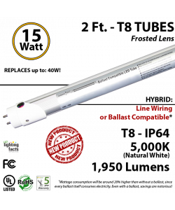 15W LED 2Ft T8 Aluminum Tube Light 5000K Frosted Lens 1950 Lumens Plug & Play or Line Wiring (Hybrid)