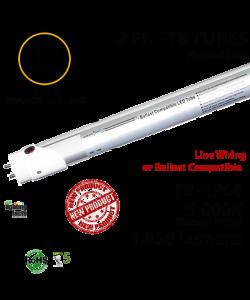 15W LED 2Ft T8 Aluminum Tube Light 5000K Frosted Lens 1950 Lumens Plug & Play or Line Wiring (Hybrid)