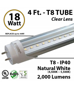 18W, 4Ft, LED T8 Tube, 2000Lm, 4500-5000K, Clear, IP40 UL