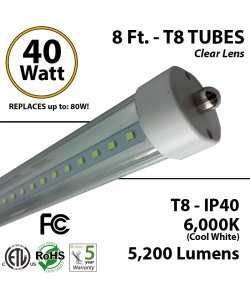8 Ft. T8 LED Tube 40 Watt 5200Lm 6000K IP40 Clear Lens
