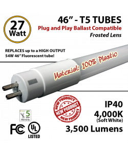 LED T5 PLASTIC Tube Light 27 Watts Frosted Lens 3500 Lumens 4000K Ballast Compatible