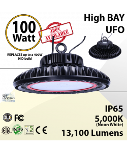 UFO LED Lights High Bay LED fixture 100 Watt 13100 Lumens 5000K ETL & DLC