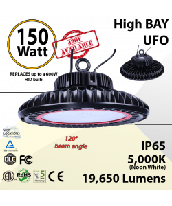 UFO Light LED High Bay 150 Watt fixture 19650 Lumens 5000K ETL & DLC