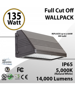 135W LED Full Cut off Wall Pack 14000 Lumens 5000K IP65 UL DLC