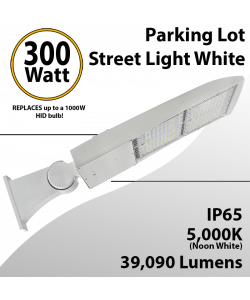 300W LED Shoebox Street Light fixture 39090Lm 5000K UL IP65 DLC White
