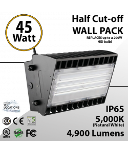 45W LED Half Cut off Wall Pack 4950 Lumens 5000K IP65 UL DLC