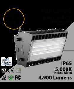 45W LED Half Cut off Wall Pack 4950 Lumens 5000K IP65 UL DLC