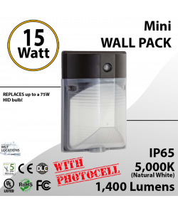 15W LED Mini Wall Pack 1400Lm 5000K IP65 W/photocell