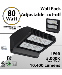 LED Wall Pack 80W 10400 Lumen Adjustable Cut-Off 5000K