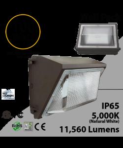 100W LED Wall Pack PC Lens 11560 Lm DLC 5000K