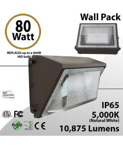 80W LED Wall Pack No CUTOFF 10875Lm DLC 5000K