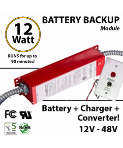 Battery Backup Module 12 Watt, 12V - 48V, 90 Minutes LED tube bulb fixture