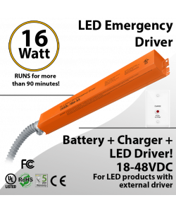 LED Emergency Driver 16 Watt for backup, Field Installable UL 100-277VAC, Max. 90 Minutes